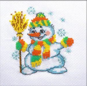 Набор для вышивки в смешанной технике Паутинка «Снеговичок» БК-113