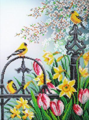 Набор для вышивки бисером Паутинка «Цветы весны» Б-1296