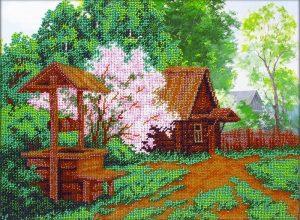 Набор для вышивки бисером Паутинка «Деревенский колодец» Б-1485
