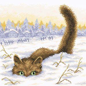 Алмазная мозаика Brilliart (М.П.Студия) «Кот в снегу» МС-033