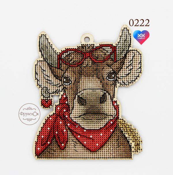 Набор для вышивания крестом на деревянной основе Фрузелок «Корова» 0222