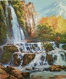 Алмазная мозаика на подрамнике Painting Diamond «Водопад в горах» GF1337