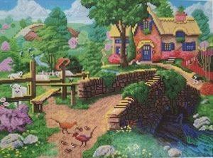 Алмазная мозаика на подрамнике Painting Diamond «Деревня у реки» GF1563