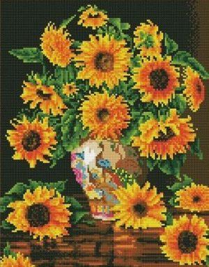 Алмазная мозаика на подрамнике Painting Diamond «Подсолнухи в вазе» GF3704