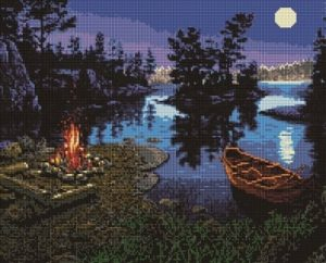 Алмазная мозаика на подрамнике Painting Diamond «Лунная ночь» GF1181