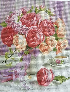 Алмазная мозаика на подрамнике Painting Diamond «Цветы в вазе» GF2097