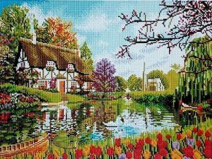 Алмазная мозаика на подрамнике Painting Diamond «Тюльпаны у озера» GF0606