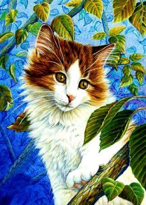 Алмазная мозаика на подрамнике Painting Diamond «Кошка на ветке» GF3613