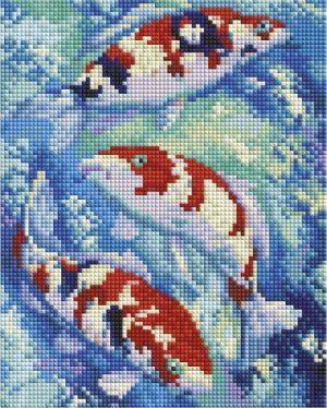 Алмазная мозаика на подрамнике Белоснежка «Карпы кои» 542-ST-S