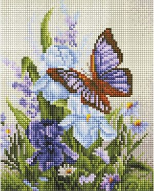 Алмазная мозаика на подрамнике Белоснежка «Бабочка на ирисах» 544-ST-S