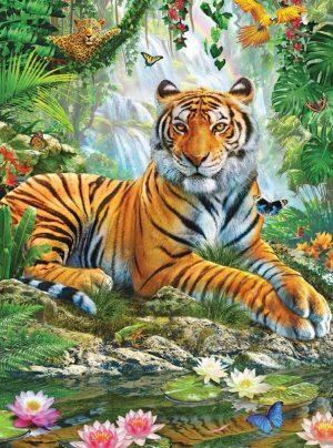 Алмазная мозаика на подрамнике Painting Diamond «Тигр в джунглях» GF3818