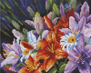 Алмазная мозаика на подрамнике Белоснежка «Лилии из сада» 539-ST-S