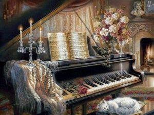 Алмазная мозаика на подрамнике Painting Diamond «Соната у камина» GF2602