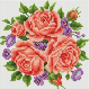 Алмазная мозаика на подрамнике Белоснежка «Розы и фиалки» 459-ST-PS