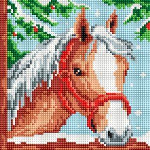 Алмазная мозаика на подрамнике Белоснежка «Белогривая лошадка» 464-ST-PS