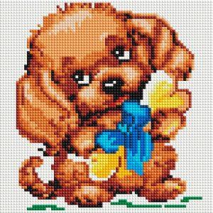 Алмазная мозаика на подрамнике Белоснежка «Собачка с подарком» 466-ST-PS