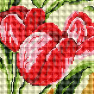 Алмазная мозаика на подрамнике Белоснежка «Тюльпаны» 471-ST-PS