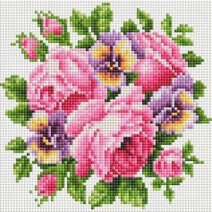 Алмазная мозаика на подрамнике Белоснежка «Розы и анютины глазки» 458-ST-PS