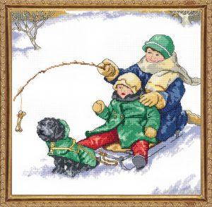 Набор для вышивания крестом Janlynn «Зимние забавы» 008-0201