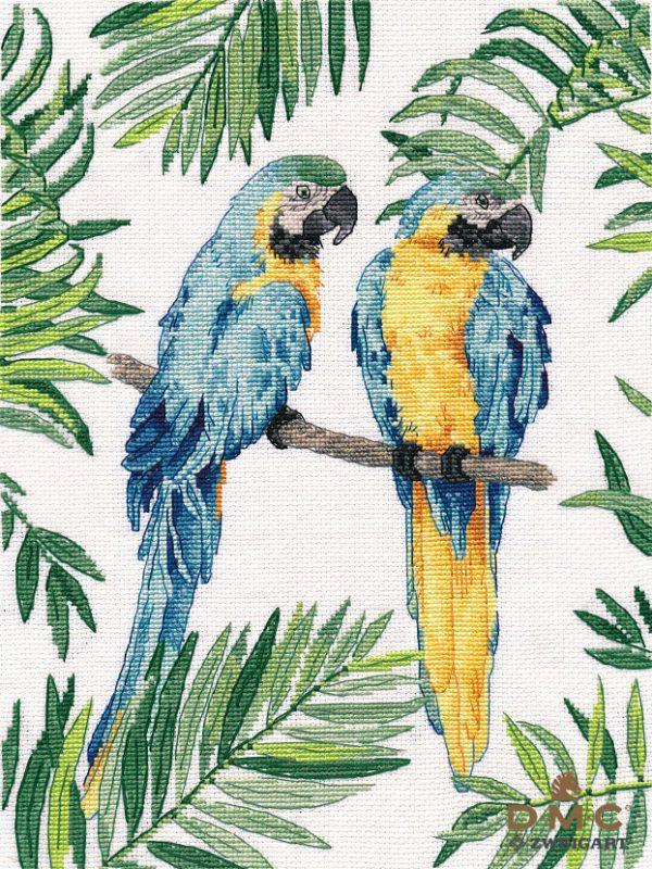 Набор для вышивания крестом Овен «Сине-желтые ара» ov1348