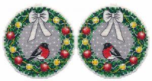 Набор для вышивания крестом Овен «Ёлочная игрушка. Веночек» ov1362