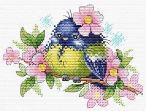 Набор для вышивания крестом М.П.Студия «Романтичная пташка» М-554