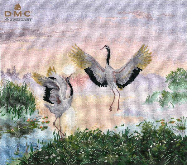 Набор для вышивания крестом Овен «Танцующие журавли» ov1340