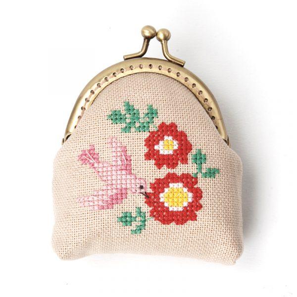 Набор для вышивки кошелька Xiu crafts «Розовая птица» 2860408