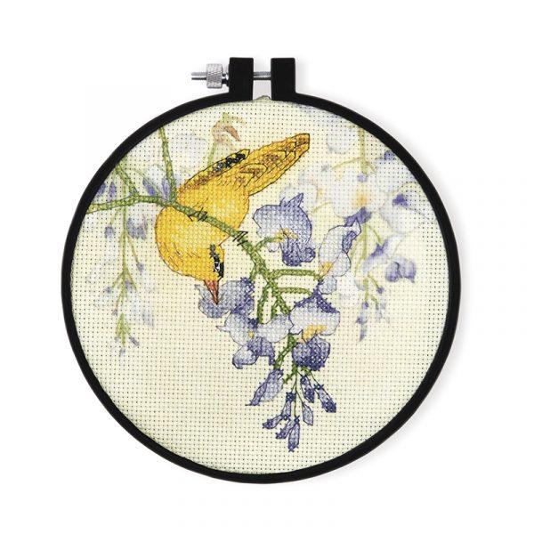 Набор для вышивки крестом Xiu crafts «Желтая птица и фиолетовый цветок» 2032601