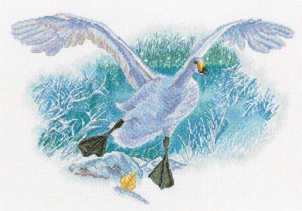 Набор для вышивки крестом РТО «Белый гусь на белом снегу» M854
