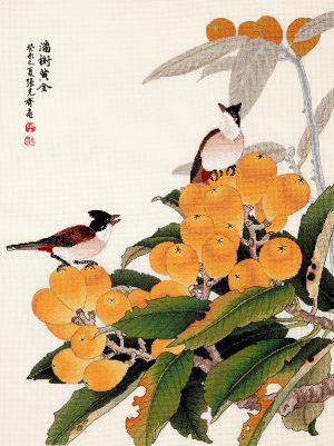 Набор для вышивки крестом Xiu crafts «Птицы на золотистой локве» 2030814