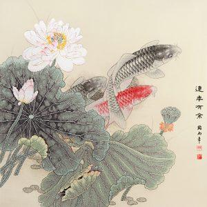 Набор для вышивки крестом Xiu crafts «Лотос и карпы» 2031501
