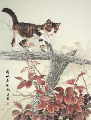 Набор для вышивки крестом Xiu crafts «Котенок на ветке» 2032302