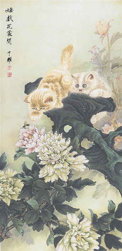 Набор для вышивки крестом Xiu crafts «Коты и пионы» 2031101