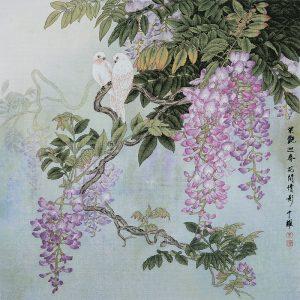 Набор для вышивки крестом Xiu crafts «Птицы сидят на ветвях глицинии» 2031103