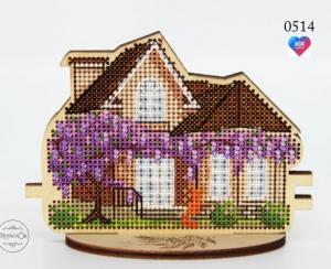 Купить набор для вышивания крестиком на деревянной основе Фрузелок «Весенний дом» 0514-1
