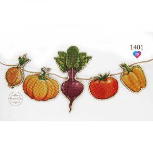 Купить набор для вышивания крестиком на деревянной основе Фрузелок «Овощи» 1401