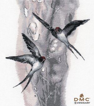 Купить набор для вышивания крестом Овен «Ласточки» № 1408