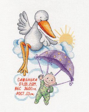 Купить набор для вышивания крестом Овен «Метрика Сашенька» № 1412