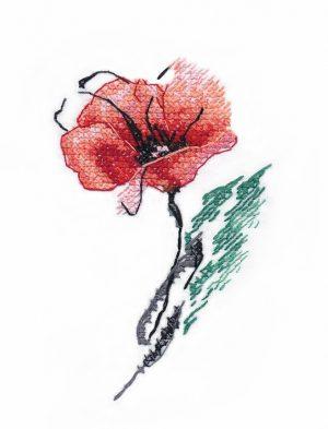 Купить набор для вышивания крестом Овен «Мак» № 1419