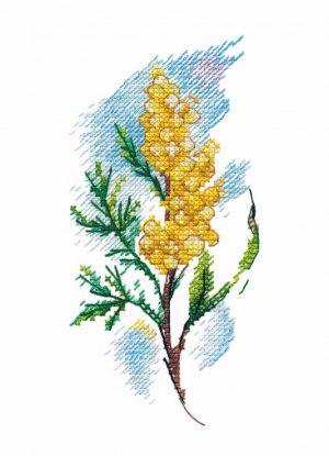 Купить набор для вышивания крестом Овен «Веточка мимозы» № 1420