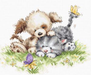 Купить набор для вышивания крестом LUCA-S «Щенок и котёнок с бабочкой» B1185