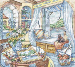 Купить набор для вышивания крестом Letitstich «Сиденье у окна» L8006
