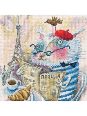 Купить Набор для вышивания крестом РТО «Читающий кот в Париже» M843