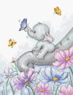 Купить набор для вышивания крестом LUCA-S «Слон с бабочкой» B1183