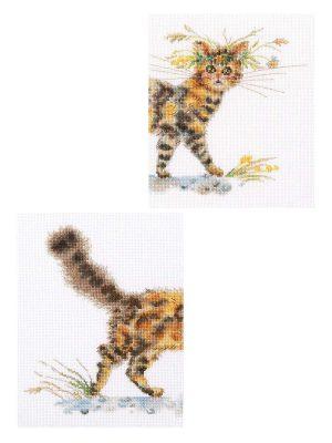 Купить набор для вышивания крестом РТО «Смотри кошку целиком» M842