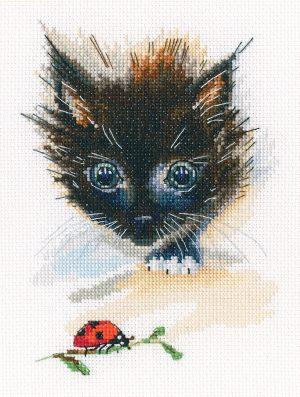 Купить набор для вышивания крестом РТО «Божья коровка и супер-кот» M826