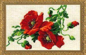 Набор для вышивания бисером Золотые ручки «Красные маки» МК-22