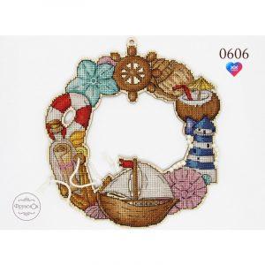 Купить набор для вышивания крестом на деревянной основе Фрузелок «Морской» арт 0606