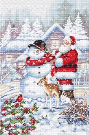 Купить набор для вышивания крестом Letistitch «Снеговик и Санта» L8015